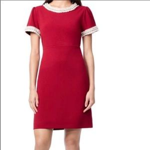 Betsy Johnson Red Pearl Trim Detail Dress
